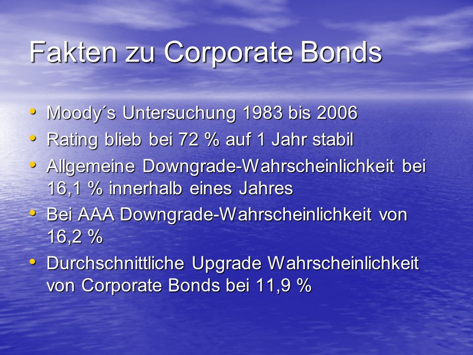 Fakten zu Corporate Bonds