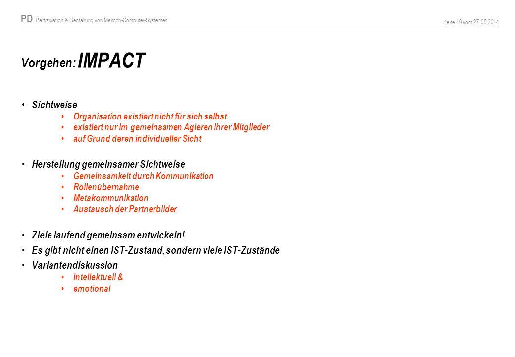 Vorgehen: IMPACT Sichtweise Herstellung gemeinsamer Sichtweise