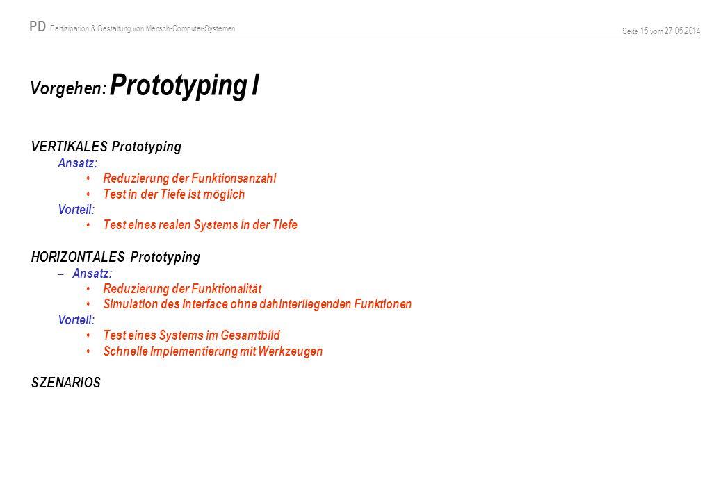 Vorgehen: Prototyping I