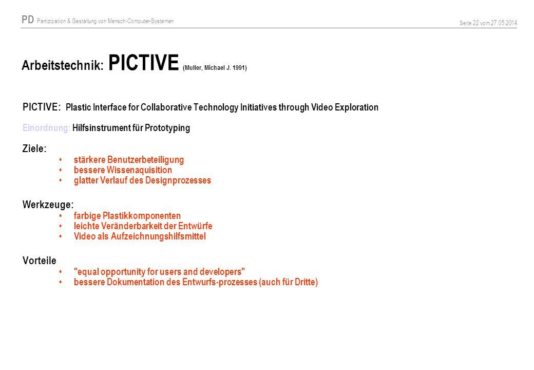 Arbeitstechnik: PICTIVE (Muller, Michael J. 1991)