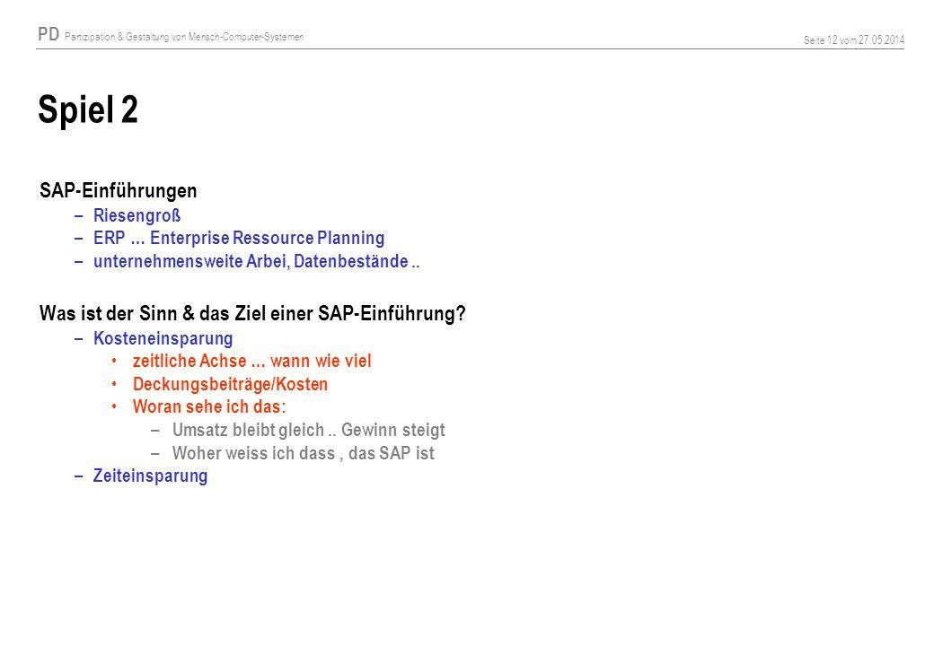 Spiel 2 SAP-Einführungen