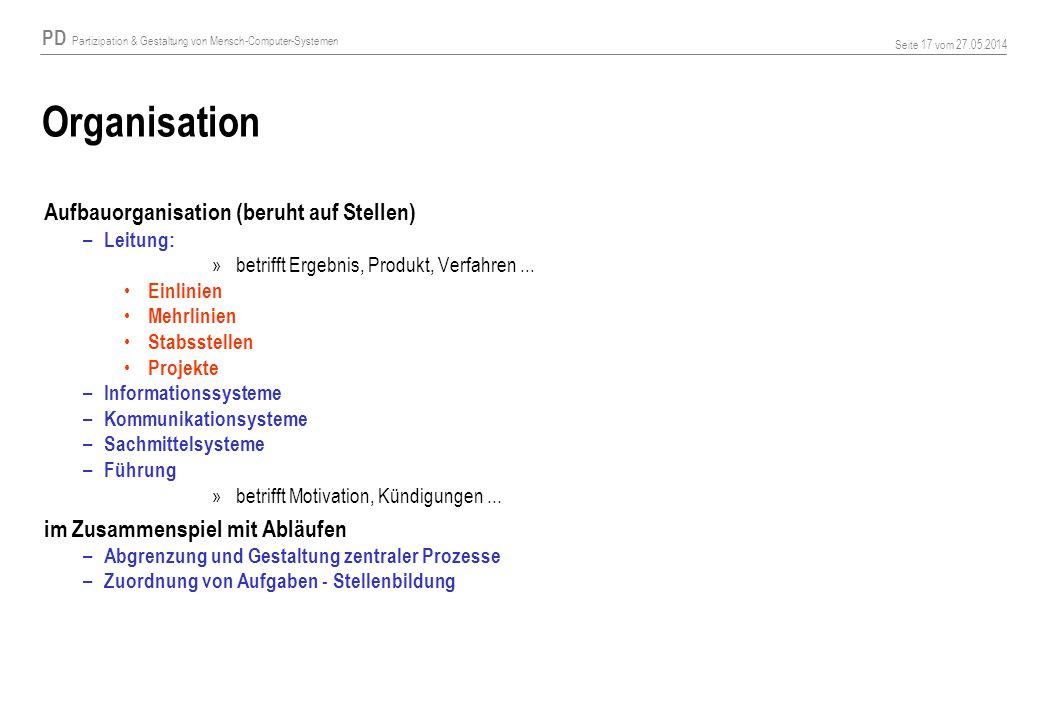 Organisation Aufbauorganisation (beruht auf Stellen)