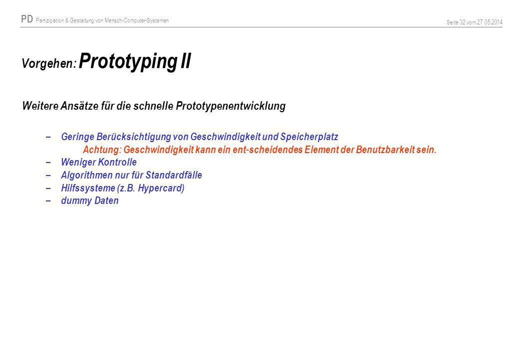 Vorgehen: Prototyping II