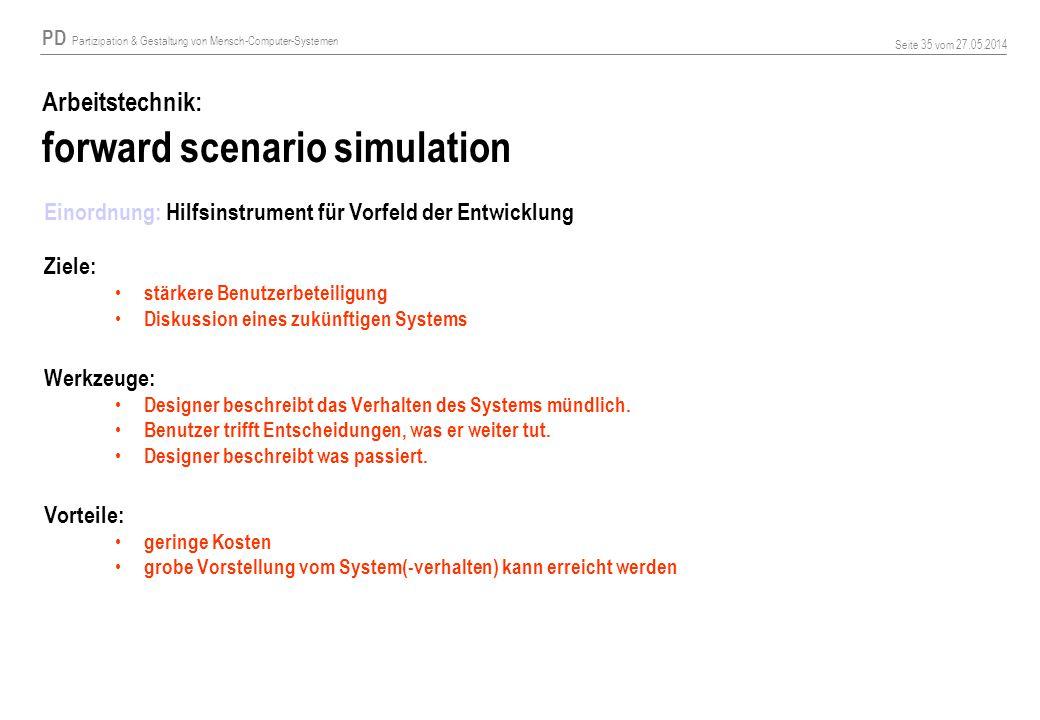 Arbeitstechnik: forward scenario simulation
