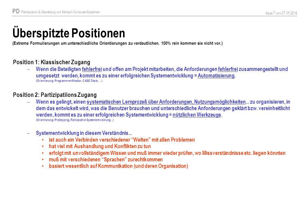 Überspitzte Positionen (Extreme Formulierungen um unterschiedliche Orientierungen zu verdeutlichen. 100% rein kommen sie nicht vor.)