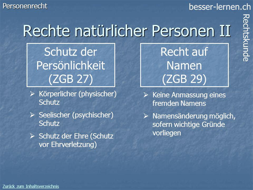 Rechte natürlicher Personen II
