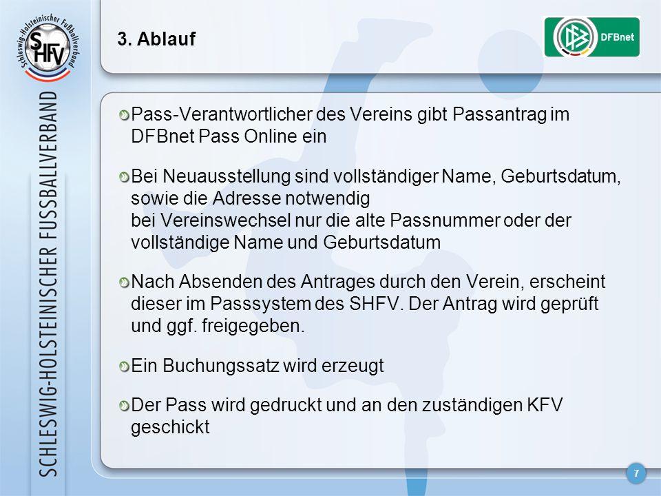 3. Ablauf Pass-Verantwortlicher des Vereins gibt Passantrag im DFBnet Pass Online ein.