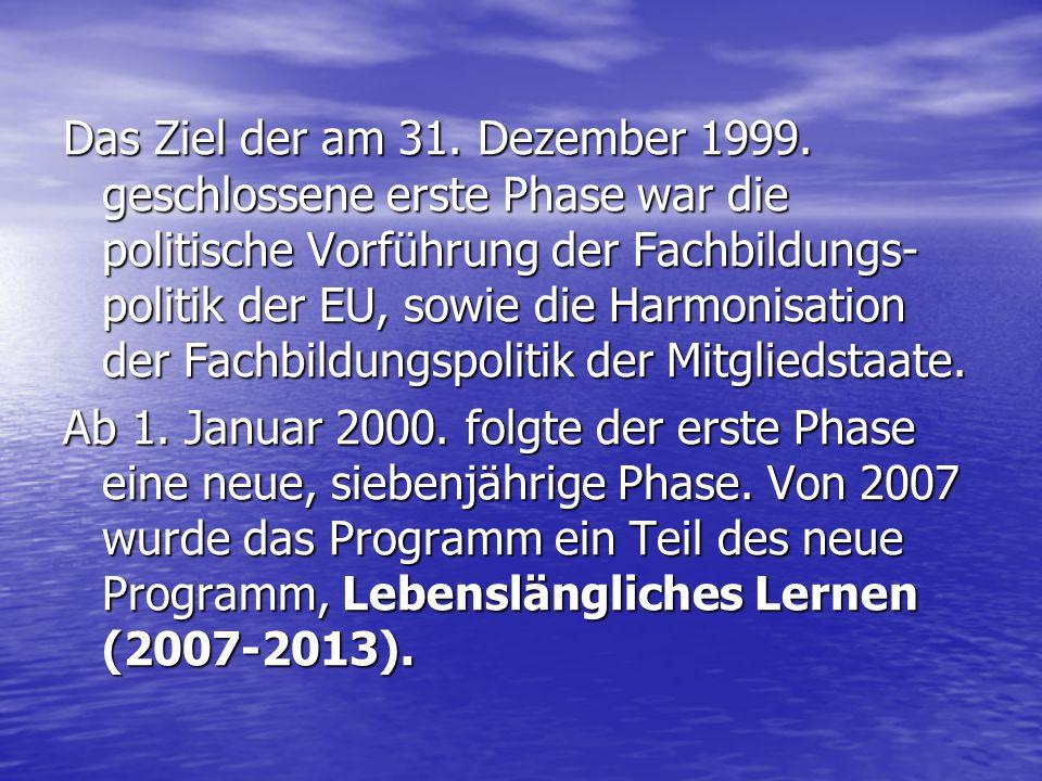 Das Ziel der am 31. Dezember 1999