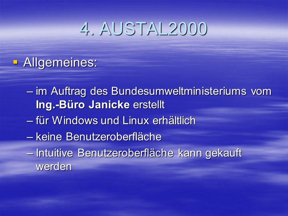 4. AUSTAL2000 Allgemeines: im Auftrag des Bundesumweltministeriums vom Ing.-Büro Janicke erstellt.