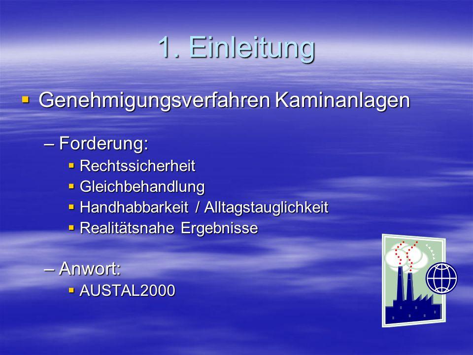 1. Einleitung Genehmigungsverfahren Kaminanlagen Forderung: Anwort: