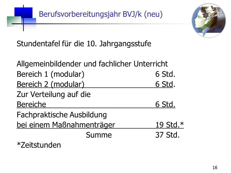 Berufsvorbereitungsjahr BVJ/k (neu)