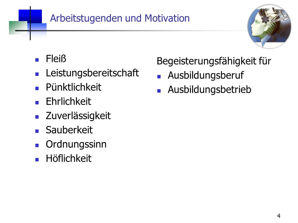 Arbeitstugenden und Motivation