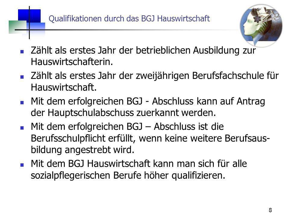 Qualifikationen durch das BGJ Hauswirtschaft