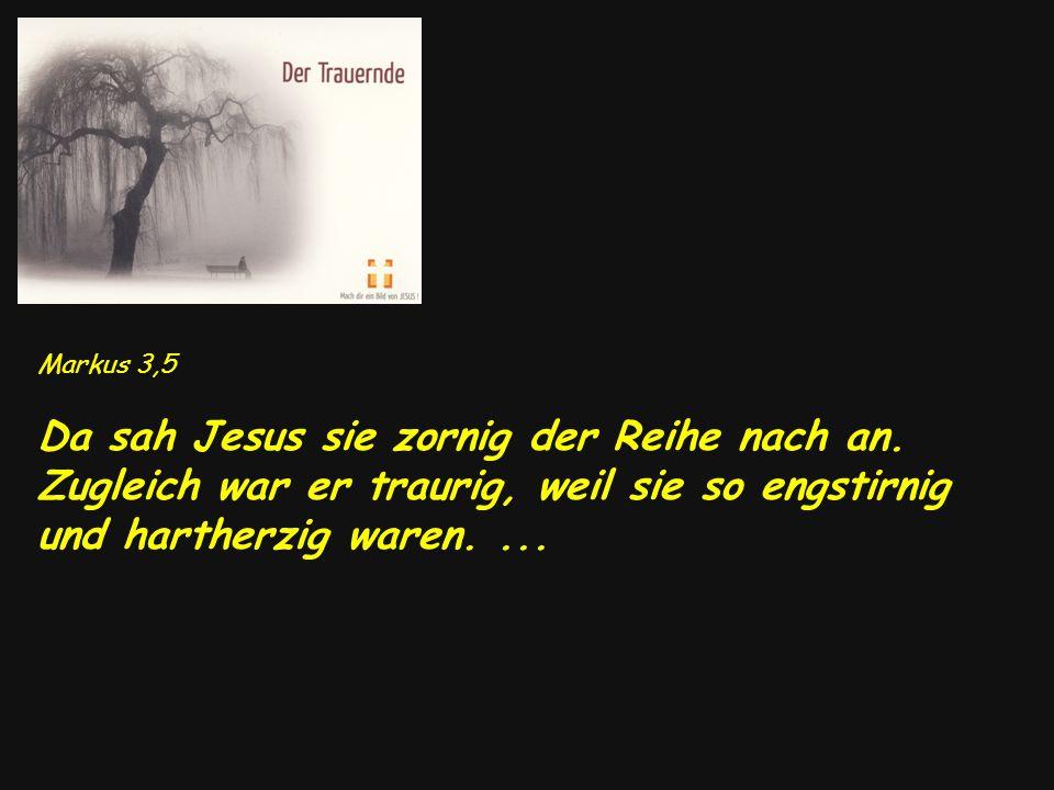 Markus 3,5 Da sah Jesus sie zornig der Reihe nach an.