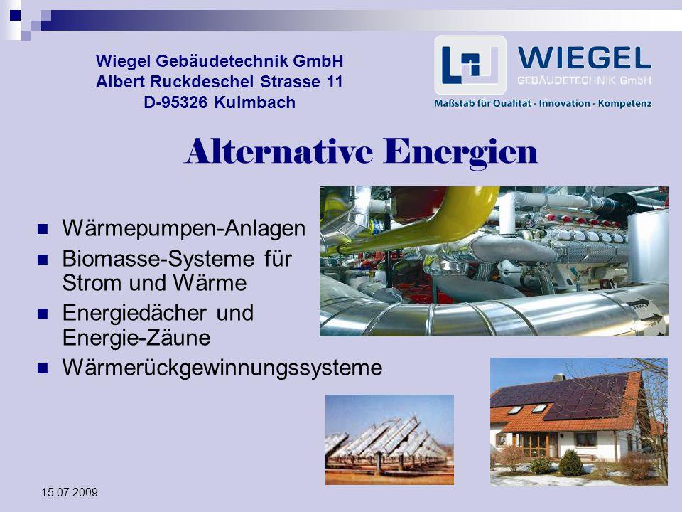 Alternative Energien Wärmepumpen-Anlagen