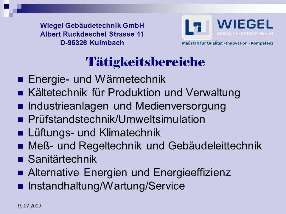 Tätigkeitsbereiche Energie- und Wärmetechnik