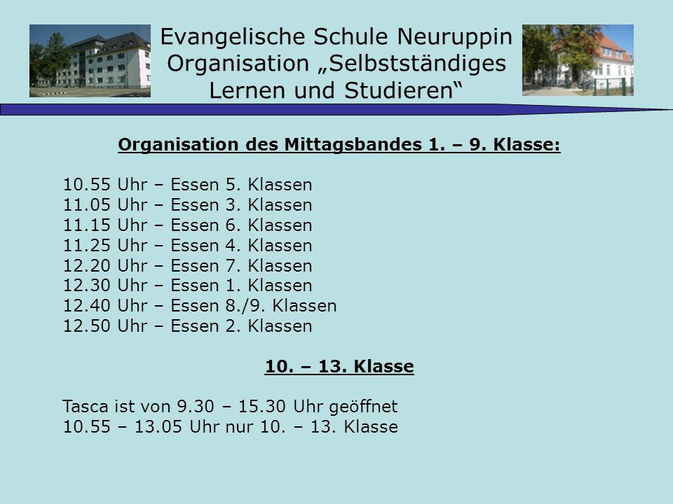 Organisation des Mittagsbandes 1. – 9. Klasse: