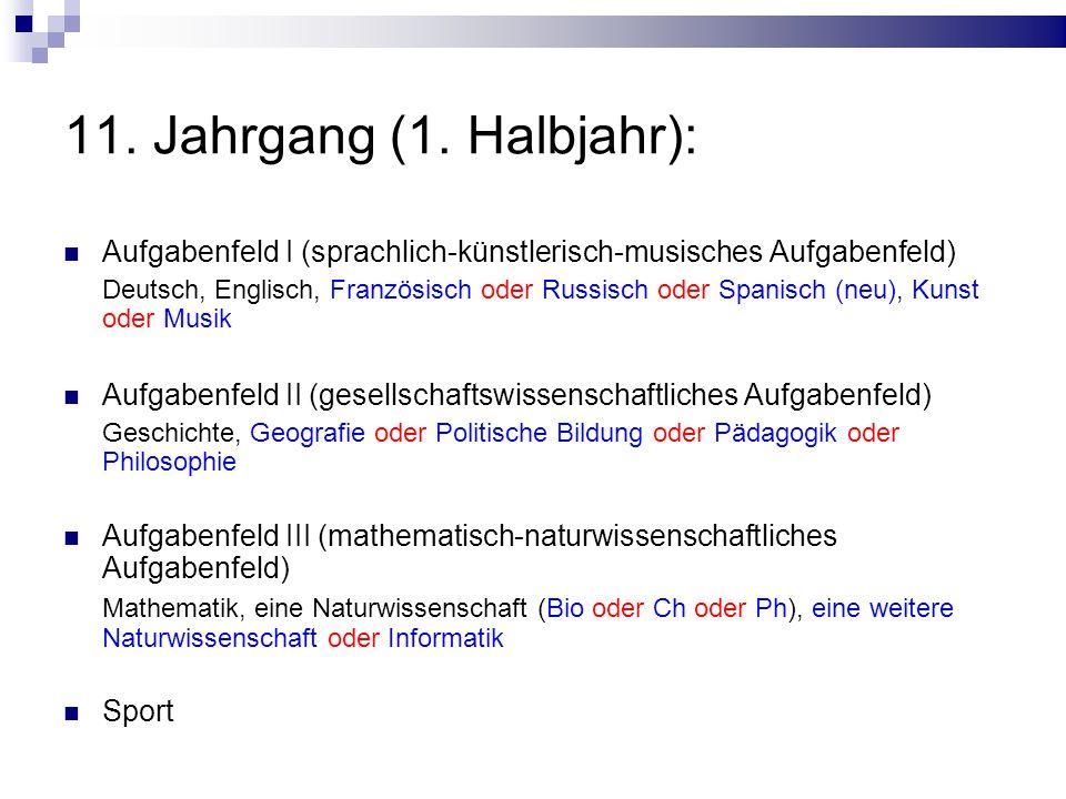 11. Jahrgang (1. Halbjahr): Aufgabenfeld I (sprachlich-künstlerisch-musisches Aufgabenfeld)