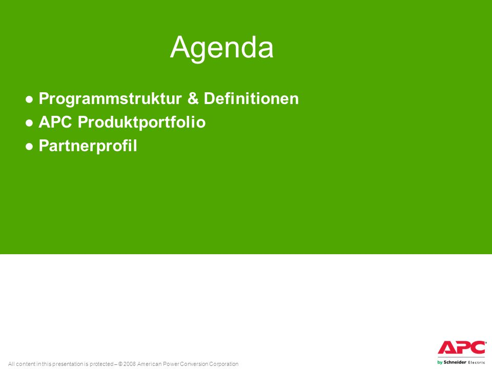 Programmstruktur & Definitionen APC Produktportfolio Partnerprofil