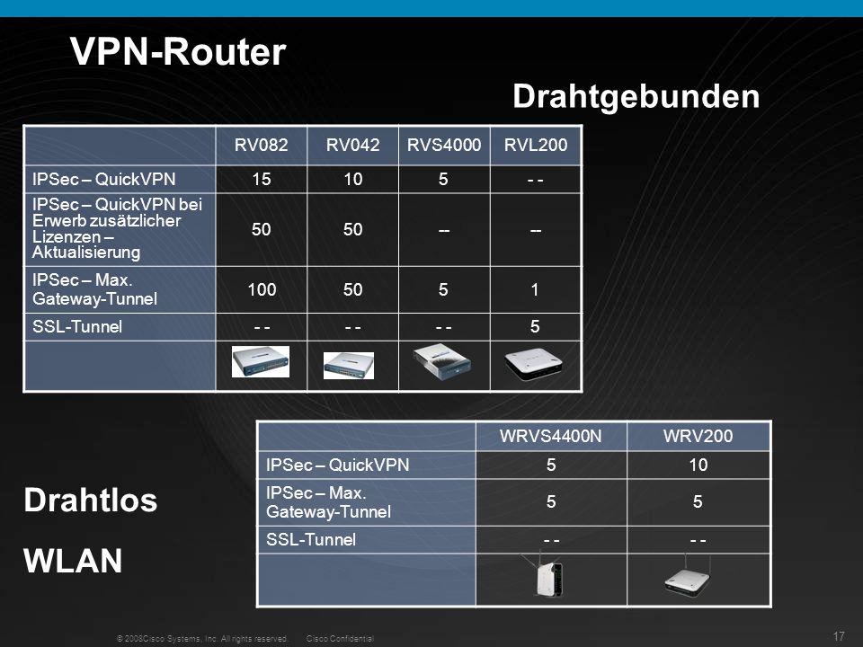 VPN-Router Drahtgebunden Drahtlos WLAN RV082 RV042 RVS4000 RVL200