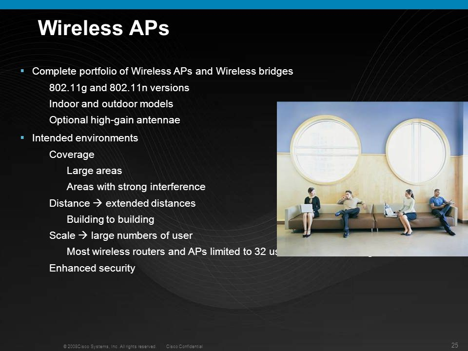 Wireless APs Complete portfolio of Wireless APs and Wireless bridges