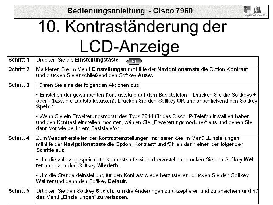 10. Kontraständerung der LCD-Anzeige