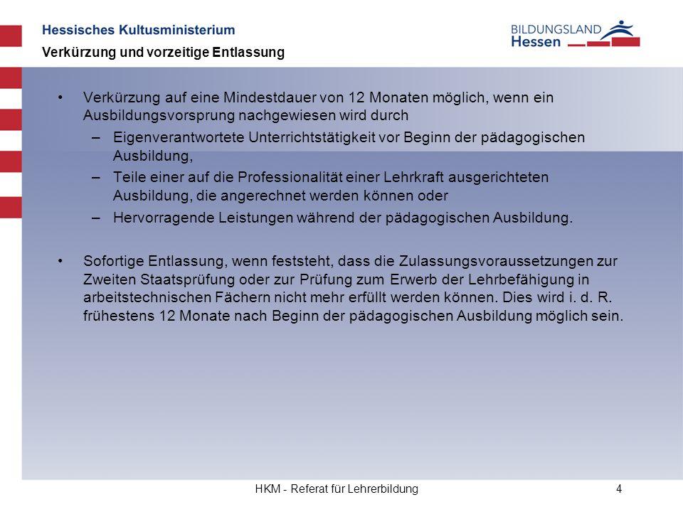 HKM - Referat für Lehrerbildung