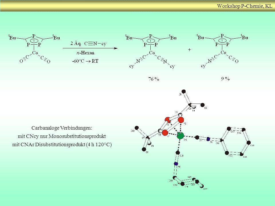 Carbanaloge Verbindungen: mit CNcy nur Monosubstitutionsprodukt