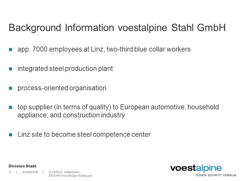 Background Information voestalpine Stahl GmbH