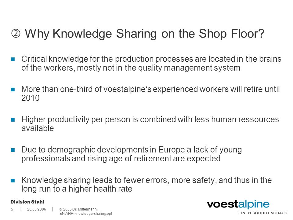  Why Knowledge Sharing on the Shop Floor