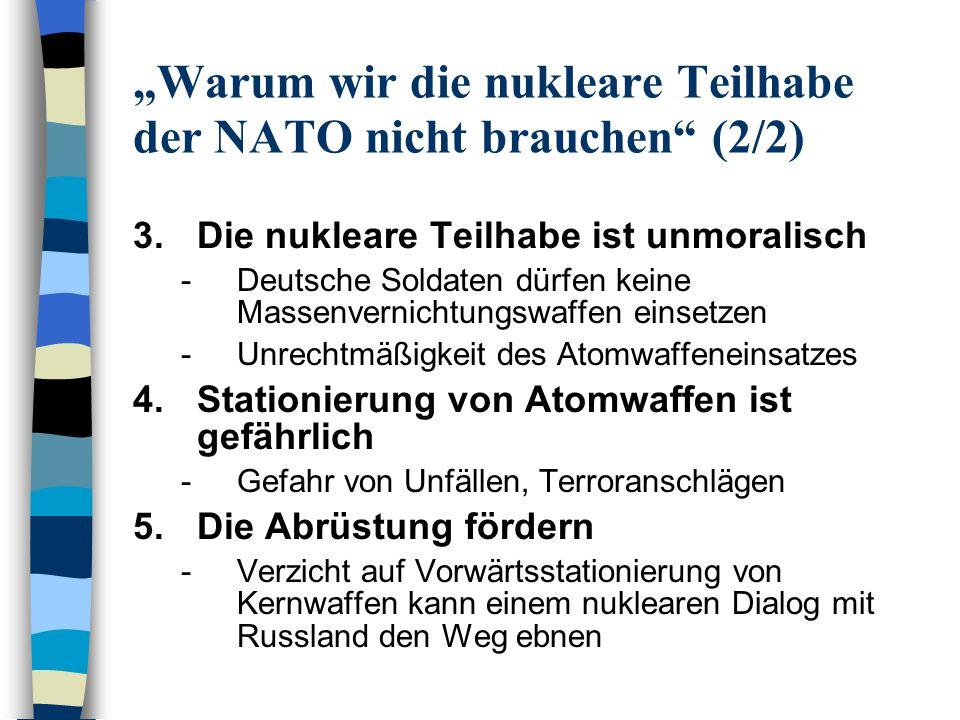 """""""Warum wir die nukleare Teilhabe der NATO nicht brauchen (2/2)"""