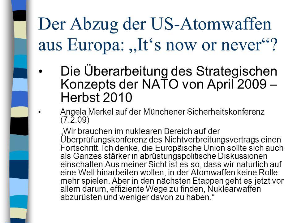 "Der Abzug der US-Atomwaffen aus Europa: ""It's now or never"