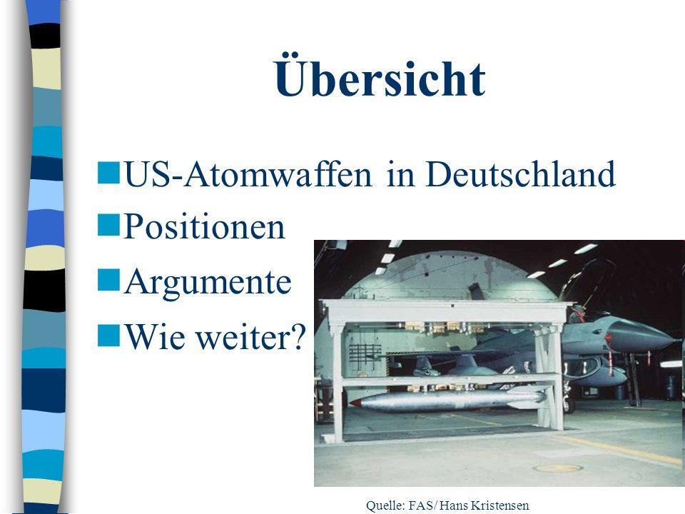 Übersicht US-Atomwaffen in Deutschland Positionen Argumente