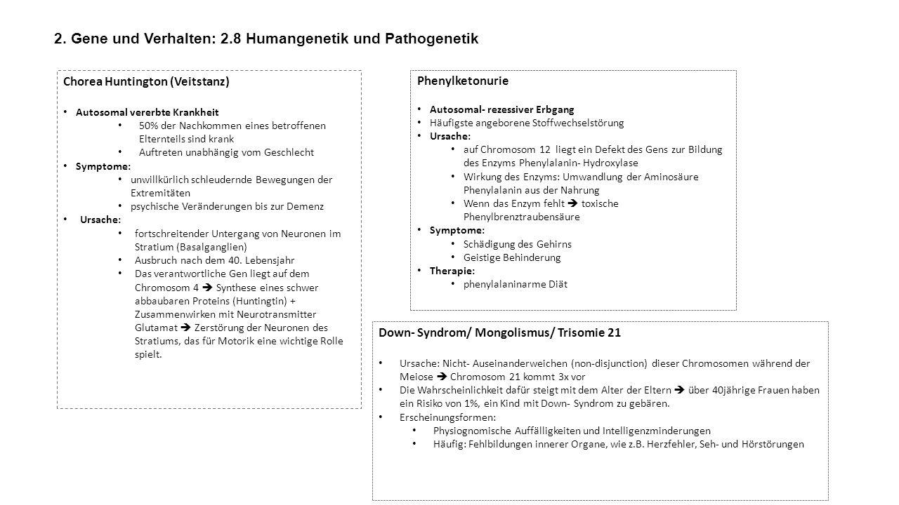 2. Gene und Verhalten: 2.8 Humangenetik und Pathogenetik