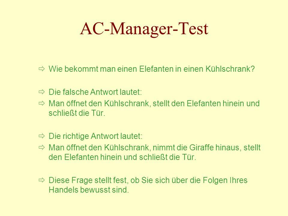 AC-Manager-Test Wie bekommt man einen Elefanten in einen Kühlschrank