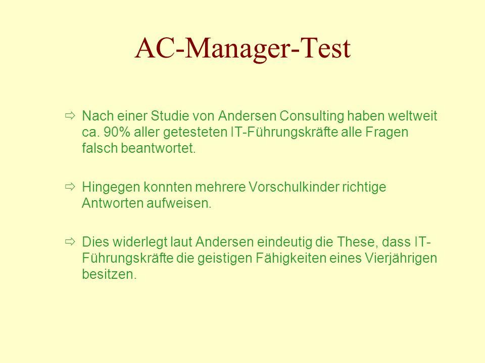 AC-Manager-Test Nach einer Studie von Andersen Consulting haben weltweit ca. 90% aller getesteten IT-Führungskräfte alle Fragen falsch beantwortet.