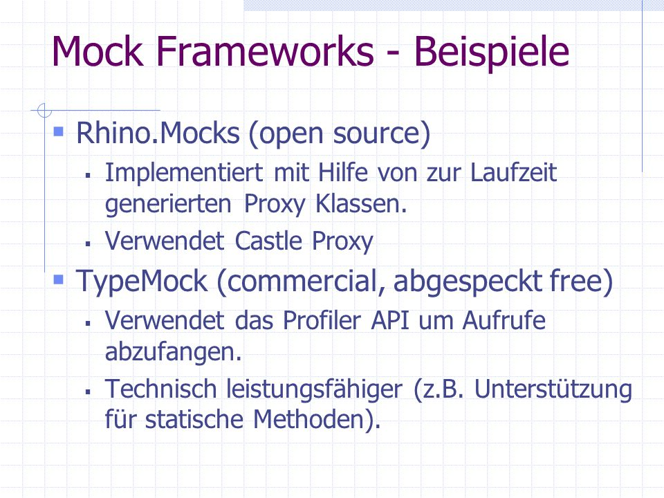 Mock Frameworks - Beispiele