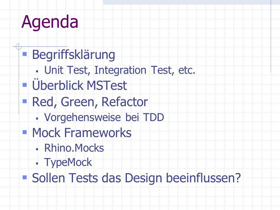 Agenda Begriffsklärung Überblick MSTest Red, Green, Refactor