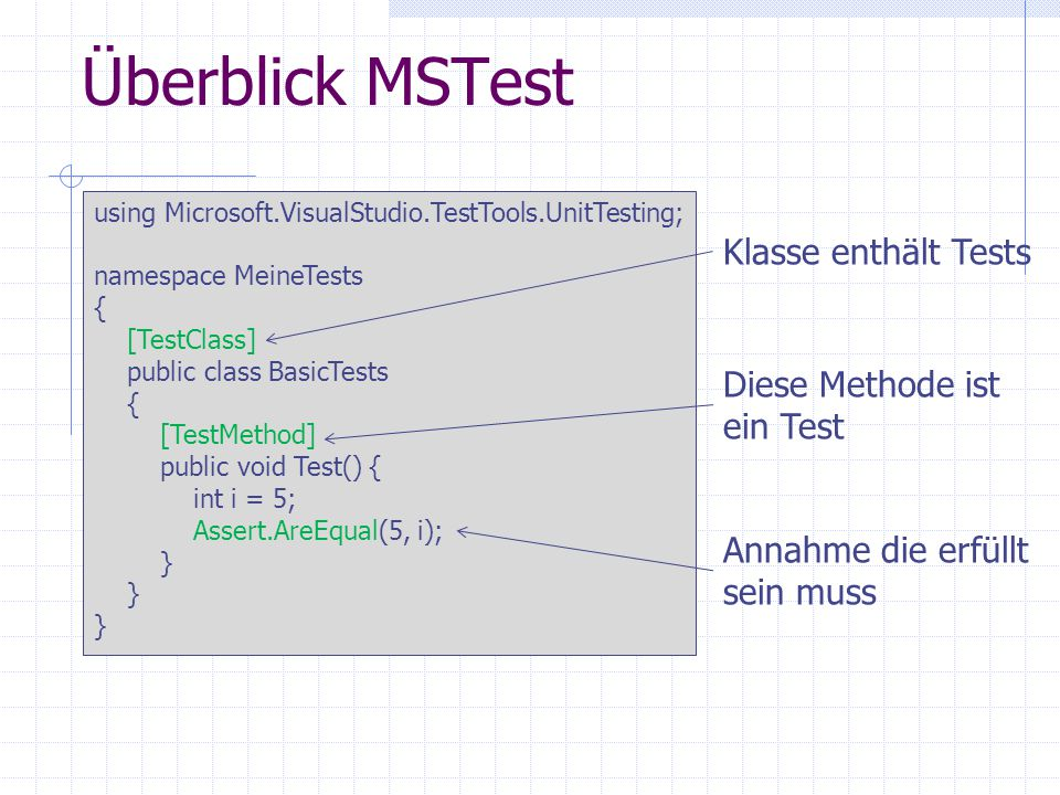 Überblick MSTest Klasse enthält Tests Diese Methode ist ein Test
