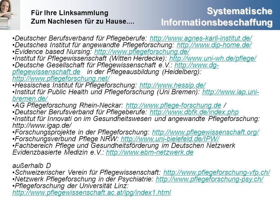 Für Ihre Linksammlung Zum Nachlesen für zu Hause.... Deutscher Berufsverband für Pflegeberufe: http://www.agnes-karll-institut.de/