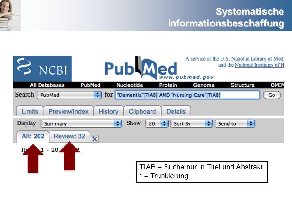 TIAB = Suche nur in Titel und Abstrakt