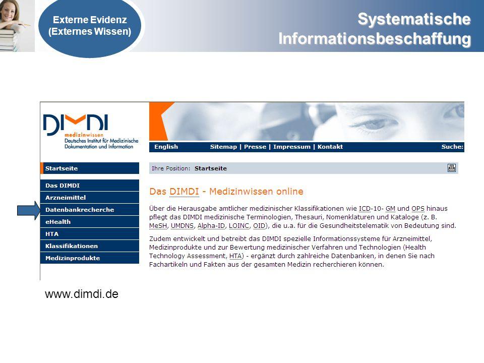 Externe Evidenz (Externes Wissen) www.dimdi.de