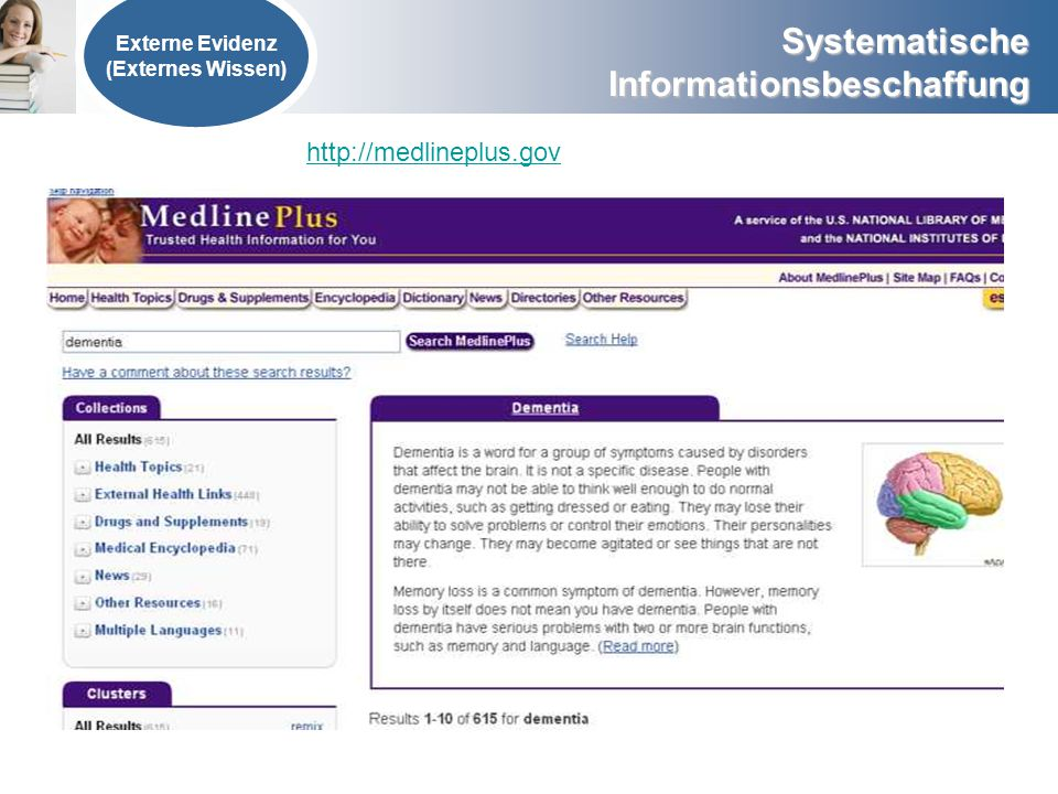 Externe Evidenz (Externes Wissen) http://medlineplus.gov