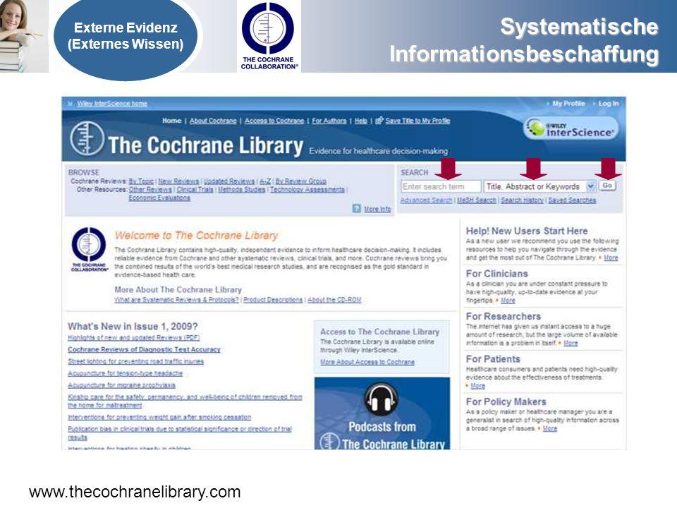www.thecochranelibrary.com Externe Evidenz (Externes Wissen)