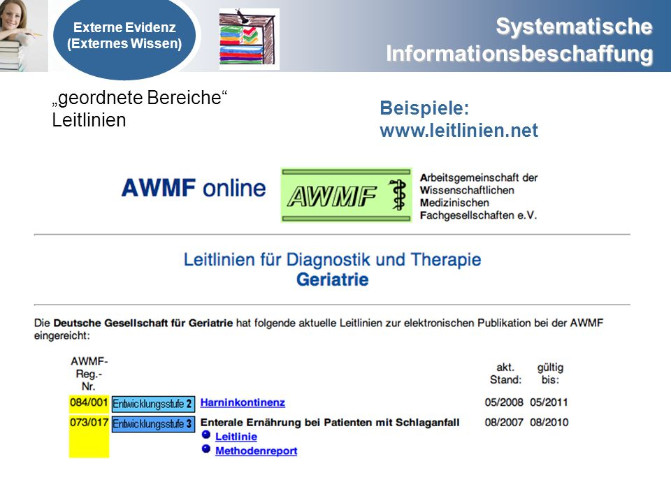"""""""geordnete Bereiche Leitlinien Beispiele: www.leitlinien.net"""