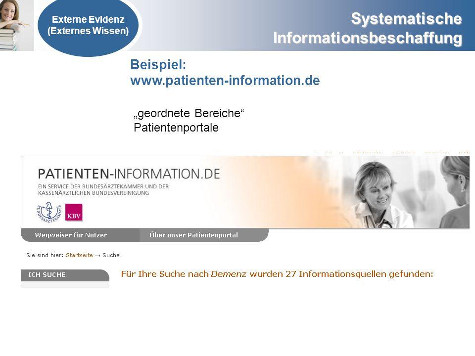 """Beispiel: www.patienten-information.de """"geordnete Bereiche"""