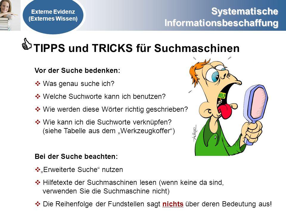 TIPPS und TRICKS für Suchmaschinen