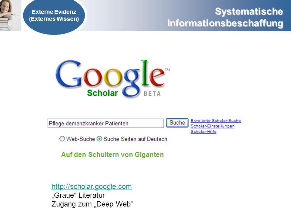 """http://scholar.google.com """"Graue Literatur Zugang zum """"Deep Web"""