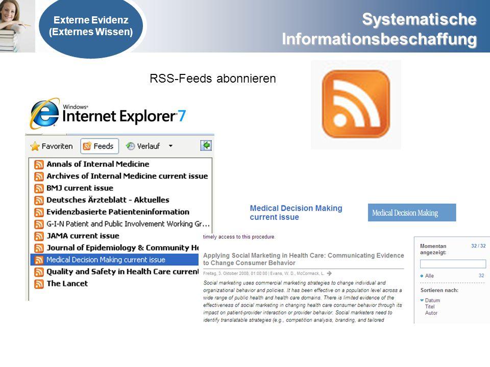 RSS-Feeds abonnieren Externe Evidenz (Externes Wissen)
