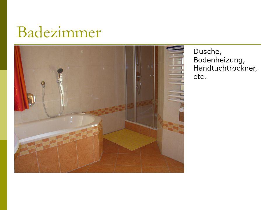 Badezimmer Dusche, Bodenheizung, Handtuchtrockner, etc.
